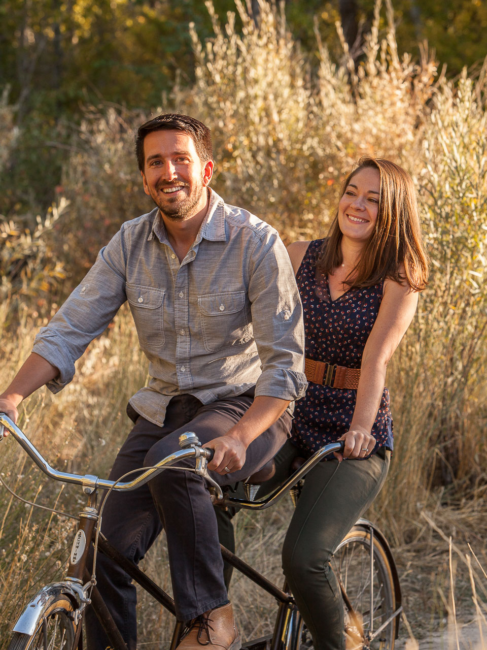 Mark and Kelly on a tandem bicycle